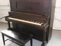 PIANO, Upright, RS Howard New York, w/bench chair. Has