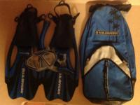 Snorkeling fins and mask in canvas bag. Excellent