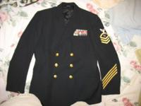 US Navy CPO Service Dress Blue Uniform Coat -Like New,