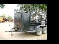 Used 12' Bumper Pull Bow Top Stock Trailer -- Black,