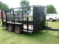 Used 14ft Open Top Bumper Pull Horse/Cattle Trailer
