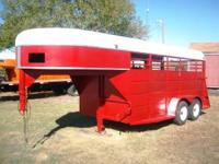 Used 16' Gooseneck Horse/Cattle Trailer. Red w/white