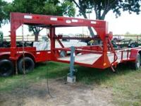 Used 16' Gooseneck Trailer W/3ft Dovetail, Red, pipe