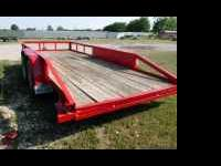 Used 16ft Tandem Axle Utility Trailer w/Ramps -- Red,