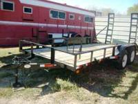 Used 16ft Utility Trailer w/Fold-up Ramps -- Black,