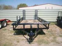 Used 18ft Pipe-top Utility Trailer w/Fold-up Ramps-