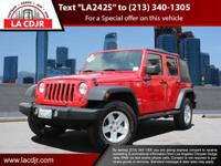 L.A. CJDR offers this Jeep Wrangler with comfort,