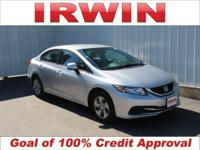 LOW MILES! Clean CARFAX. Silver 2013 Honda Civic LX FWD