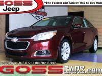 Red Metallic 2015 Chevrolet Malibu LT 2LT, FWD, 6-Speed