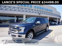 Clean CARFAX.2015 Ford F-150 Lariat Blue Jeans Metallic
