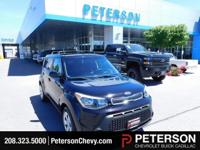 Our charming 2015 Kia Soul Wagon in Shadow Black lets