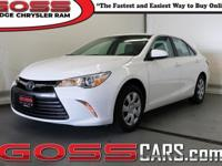 White 2015 Toyota Camry LE, FWD, 6-Speed Automatic,