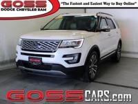 White 2016 Ford Explorer Platinum, AWD, 6-Speed