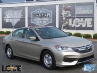 Tan Cloth.Clean CARFAX. Gold 2016 Honda Accord LX FWD