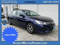 Check out this low mile 2016 Honda Accord LX Blue