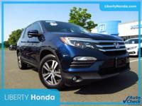 Certified. Blue 2016 Honda Pilot EX-L AWD 6-Speed