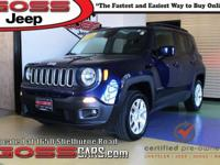 Certified. Blue 2016 Jeep Renegade Latitude, 4WD,
