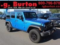 CARFAX One-Owner. Clean CARFAX. Blue 2016 Jeep Wrangler