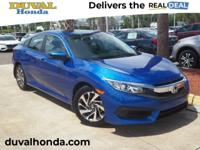 Recent Arrival! This 2017 Honda Civic EX in Aegean Blue