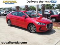 Recent Arrival! This 2017 Hyundai Elantra SE in Scarlet