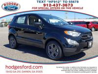 Clean CARFAX. This 2018 Ford EcoSport S in Shadow Black