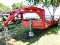 Used 20ft Gooseneck Equipment Trailer w/Ramps -- Red,