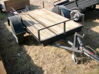 Used 4x6 Trailer, Black, Round rod top, 3,500lb axle.