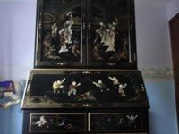 A beautiful Black Laquer Oriental 2 piece desk with