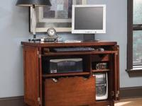 Used Hanover cherry wood finish computer desk cabinet