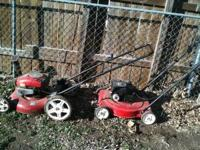 2 LAWN MOWERS FOR SALE !! STILL WORK BUT NEED TLC!!
