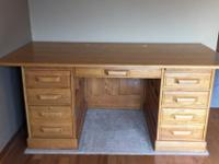 "Desk Top 37"" x 72"" wide. 7-drawers and 2-pull out"