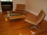 2 Camel Colored Leather Room and Board Seville Chairs