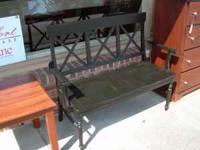 USED BLACK RUSTIC SOLID WOOD BENCH. $150. IN GREAT