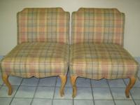 Pair of vintage slipper chairs with neat detailing. We