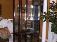 Used brown cabinet with glass shelves and glass doors.