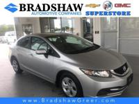 Alabaster Silver Metallic 2014 Honda Civic LX KBB Fair