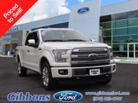 Clean CARFAX. Oxford White 2015 Ford F-150 Platinum
