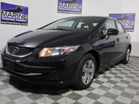 Clean CARFAX. Black 2015 Honda Civic LX FWD CVT 1.8L I4