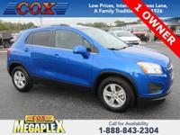 This 2016 Chevrolet Trax LT in Brilliant Blue Metallic