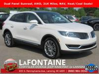 2016 Lincoln MKX Reserve White AWD CARFAX One-Owner.