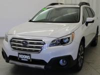 2016 Subaru Outback 3.6R Crystal White Pearl Bluetooth,