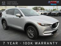 Certified. This 2017 Mazda CX-5 Touring in Sonic Silver