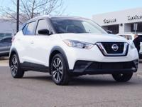 Clean CARFAX. Certified. Aspen White 2018 Nissan Kicks