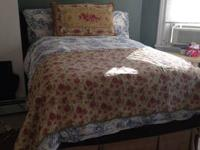 FULL BEAUTYREST MATTRESS WITH BOX SPRING, BED STAND,