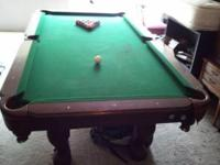 THE TABLE HAS SOME SCRAPS AND DINGS. INCLUDES ALL BALLS