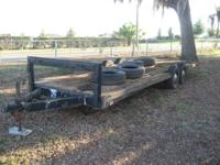 THIS TRAILER IS IN GOOD SHAPE HAS DOUBLE AXLES AND GOOD