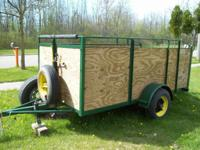 5'x10' Wood Utility Trailer with adjustable, pull out