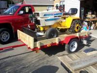 Utility trailer is 4 x 8, excellent condition. Garden