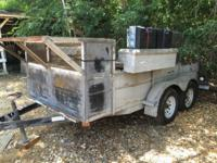I TON UTILITY TRAILER, 2 AXLE, TOOL BOXES ON EACH SIDE,