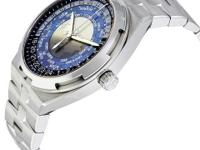 Stainless steel case with a stainless steel bracelet.